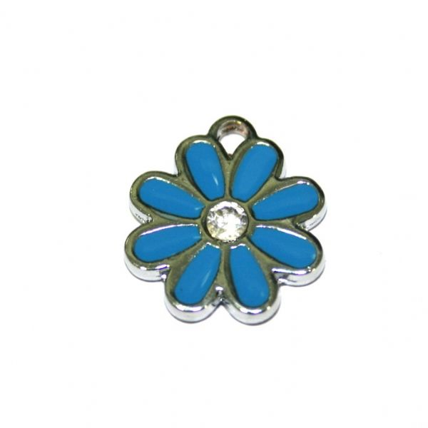 1x 17*17mm rhodium plated blue daisy with  rhinestone enamel charm - SD03 - CHE1249
